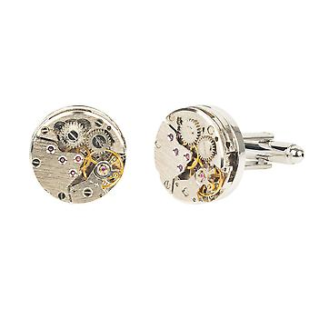 Watch Movement Cufflink silver Mens Time Gift Father Groom Wedding Birthday 925