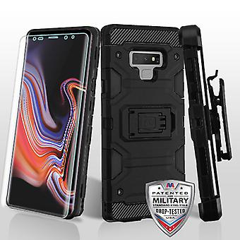 MYBAT Black/Black 3-in-1 Storm Tank Hybrid Case Combo (w/ Holster)(with  Screen Protector) for Galaxy Note 9