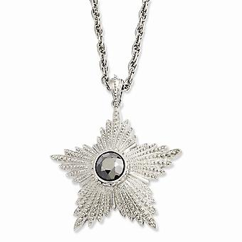Silver-tone Fancy Lobster Closure Hematite Epoxy Stone Star Pendant 32inch Necklace - 53.3 Grams