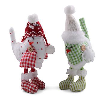 Set of Two Standing Fabric Birds with Knitted Hats & Fluffy Detail