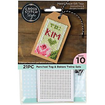 Gift Tags W/Bakers Twine Punched For Cross Stitch-4