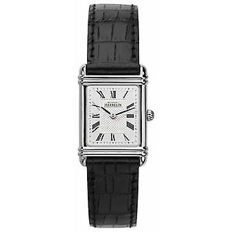 Michel Herbelin Womens Esprit Art Deco Black Leather Strap 17478/08 Watch