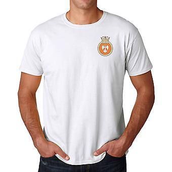 HMS Victorious Embroidered Logo - Royal Navy Submarine Official MOD Ringspun T Shirt