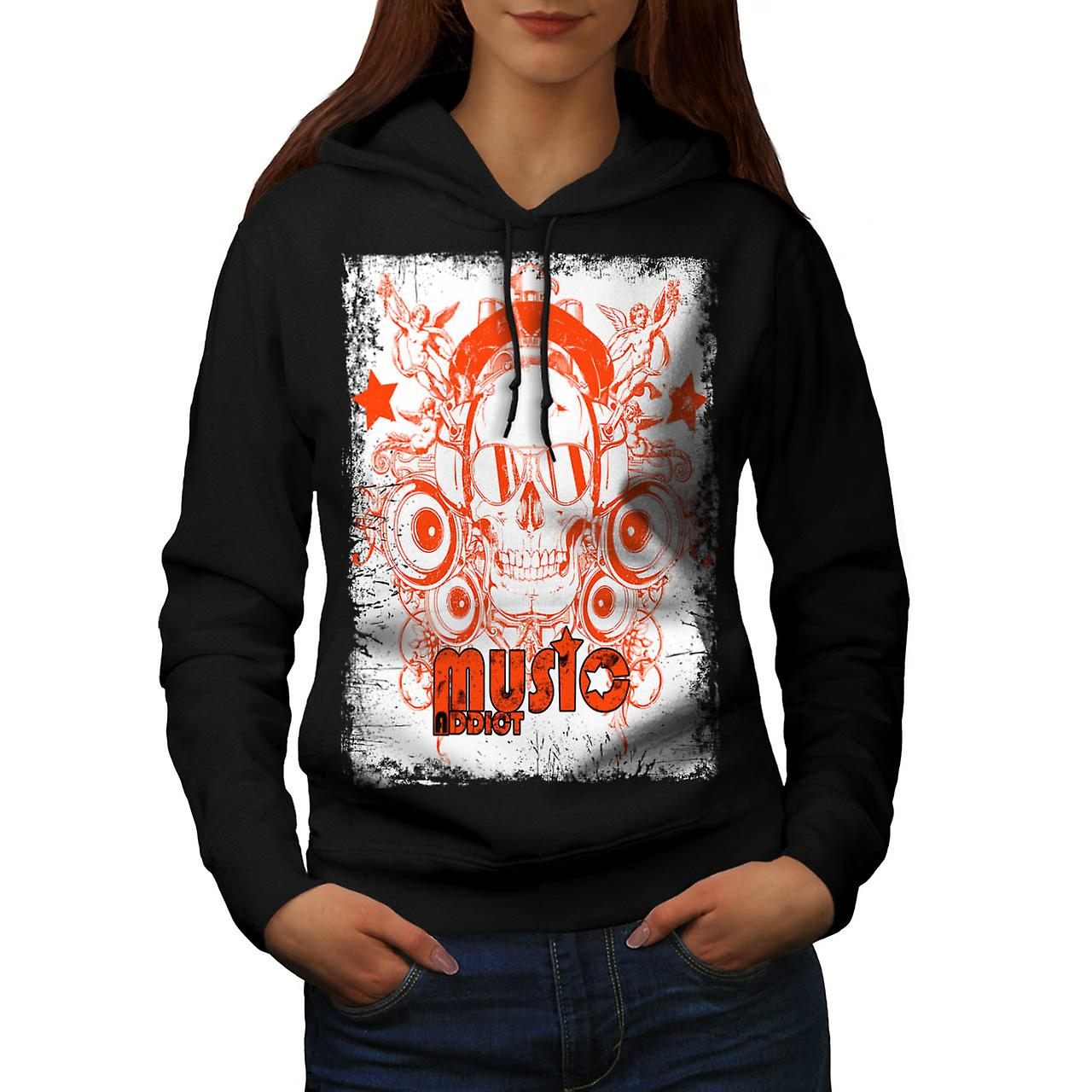 DJ Music Addict Beats Rave Skull Women Black Hoodie | Wellcoda
