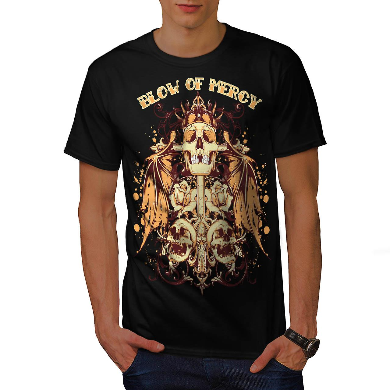 Blow Of Mercy Skull Tomb Stone Men Black T-shirt | Wellcoda