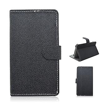 Skriv inn PU skinn lommebok dekker for Samsung Galaxy S6 kanten (svart)