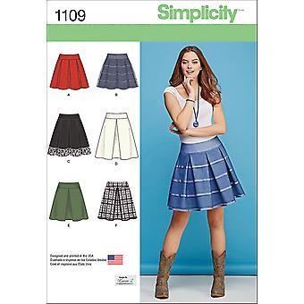 SIMPLICITY MISSES' SKIRTS WITH LENGTH AND TRIM VARIATIONS-6-8-10-12-14 US1109H5