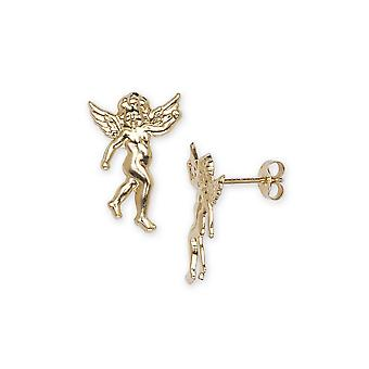 14k Yellow Gold Angel Stamping Children Earrings - Measures 15x10mm
