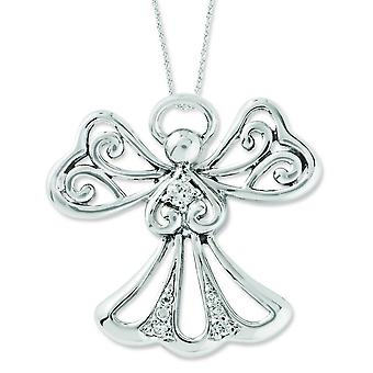 Sterling Silver CZ Angel Of Kindness 18inch Angel Necklace