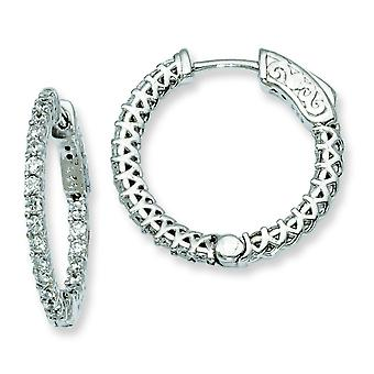 Sterling Silver Polished Prong set Safety clasp Rhodium-plated Rhodium Plated With Cubic Zirconia Hinged Hoop Earrings