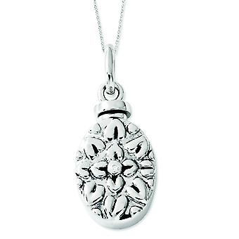 Sterling Silver Cubic Zirconia Antiqued Flower Ash Holder 18inch Necklace