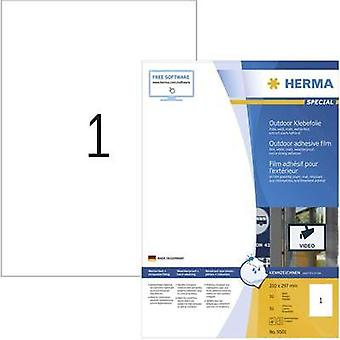 Herma 9501 Labels (A4) 210 x 297 mm PE film White 50 pc(s) Permanent All-purpose labels, Weatherproof labels Laser, Copi