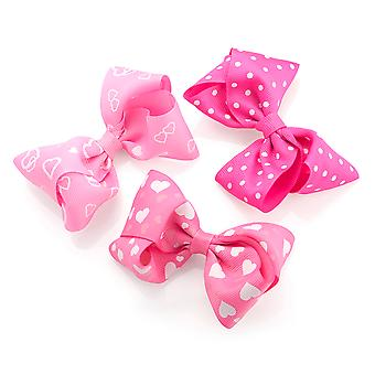 Three Piece Heart Design Bow on Hair Clip Set Pink & White