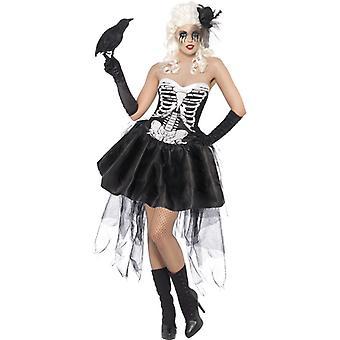 Kostüm Skelettdame mit Kleid und Netzschleppe Damen