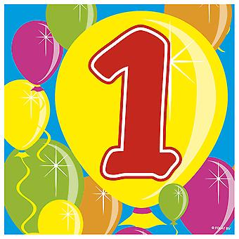 Party napkins number 1 balloon design 20 St. birthday decoration party napkins