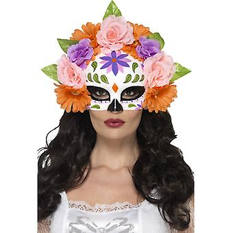 Day of the dead flowers eyes mask half mask Mexico Halloween