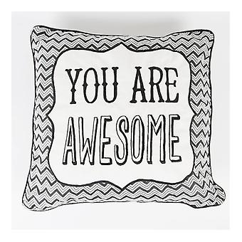 Sass and Belle 'You Are Awesome' Chevron Retro Cushion