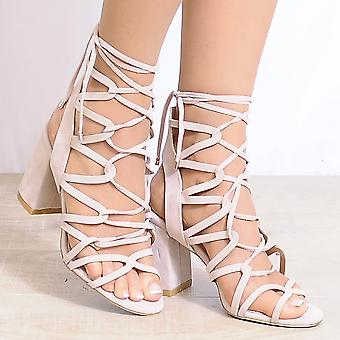 Shoe Closet Nude Heels - Ladies Morgan-1 Nude Peep Toes Ankle Strap Strappy Sandals High Heels