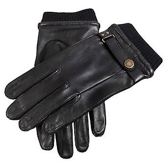 Dents Strap and Roller Leather Gloves - Black