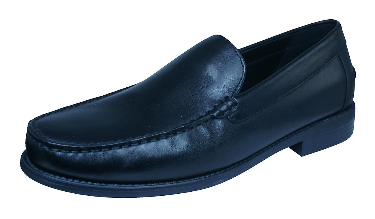 Geox U New Damon A Mens Smooth Leather Moccasins Shoes - Black
