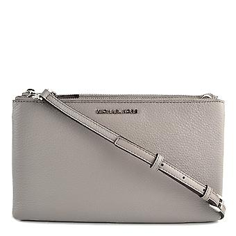 MICHAEL by Michael Kors Pearl Grey Leather Double Zip Crossbody Bag