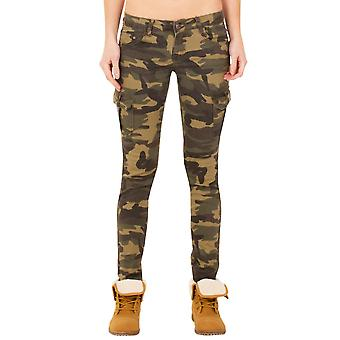 Slim Skinny Hipster Camouflage Cargo Trousers Combat Pants - Green