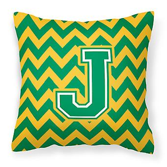 Letter J Chevron Green and Gold Fabric Decorative Pillow
