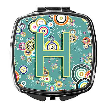 Letter H Circle Circle Teal Initial Alphabet Compact Mirror