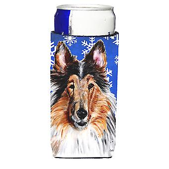 Collie Winter Snowflakes Ultra Beverage Insulators for slim cans