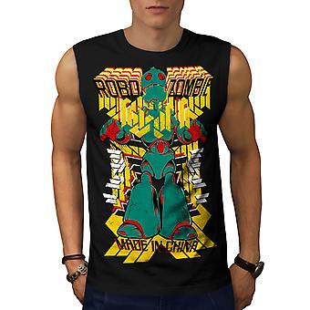 Roboter-Fashion coole Männer BlackSleeveless T-shirt   Wellcoda