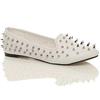 Ajvani womens flat spike studded gem embellished loafers pumps shoes