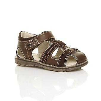 Ajvani boys flat hook & loop contrast summer gladiator fisherman sandals