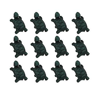 Set of 12 Distressed Verdigris Finish Cast Iron Turtle Drawer Pulls