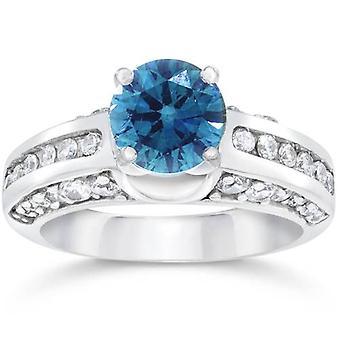 1 3 / 4ct blauen & weißen Diamantring 14K Gold