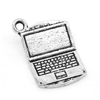 Packet 5 x Antique Silver Tibetan 21mm Computer Charm/Pendant ZX04085