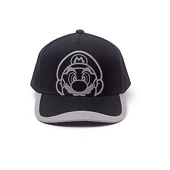 Nintendo Super Mario Bros. Reflective Mario Print Curved Bill Cap Black/Grey
