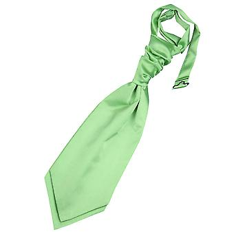Lime Green Plain Satin Pre-Tied Wedding Cravat for Boys
