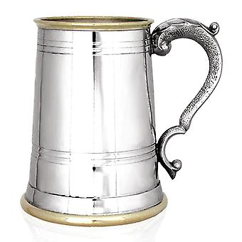 Cheshire Brass Lip & Base Pewter Tankard - 1 Pint