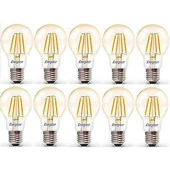 10 X Energizer 6.2W = 60W LED Filament GLS Light Bulb Lamp Vintage ES E27 Clear Edison Screw [Energy Class A+]