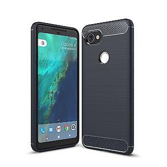 Google pixel XL 2 TPU case carbon fiberoptik børstet beskyttende tilfælde blå