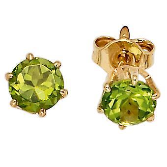 Bouton verde 2 Peridote 585 oro Orecchini in oro giallo oro gemma Orecchini Studs