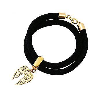Negro - alas - chapado en oro pulsera - abrigo Pulsera - plata 925-