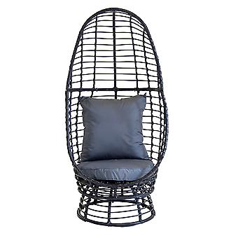 Charles Bentley Contemporary Single Rattan Pod Chair - In Black & Grey