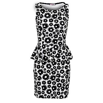 Ladies Sleeveless Floral Emboss Print Fitted Sexy Women's Bodycon Peplum Dress