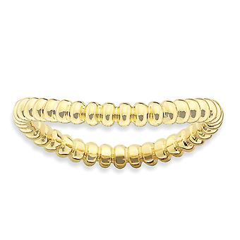 2,25 mm sterlingsilver mönstrad stapelbar uttryck polerat guld-FlashedWave Ring - Ring storlek: 5 till 10
