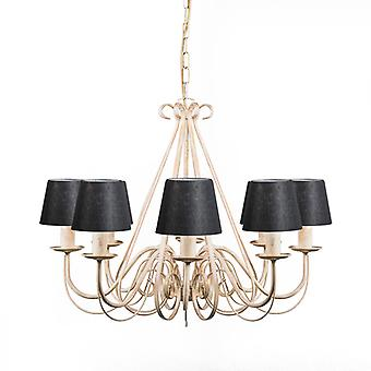QAZQA Chandelier Giuseppe 8 Antique White with Black Clamp Shades