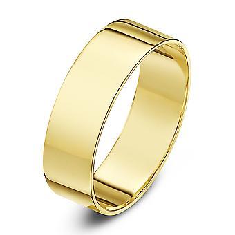 Star Wedding Rings 18ct Yellow Gold Light Flat 6mm Wedding Ring