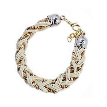 Armband Braided Gold White