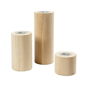 3 Assorted Cylindrical Wooden Candle Holders for Craft Projects