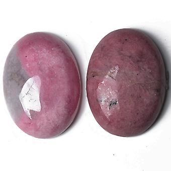 1 x rosa Rhodonite Flat tilbake 18 x 25 mm ovale 6.5mm tykk Cabochon CA16662-6